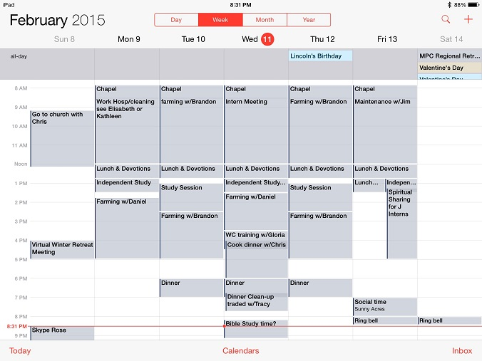 This is my calendar for the second week of my internship, which is typical!